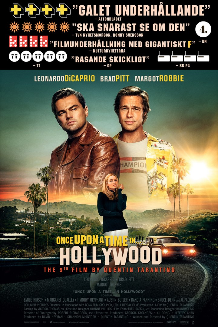 Poster för Once Upon A Time In Hollywood som går på bio i Motala.