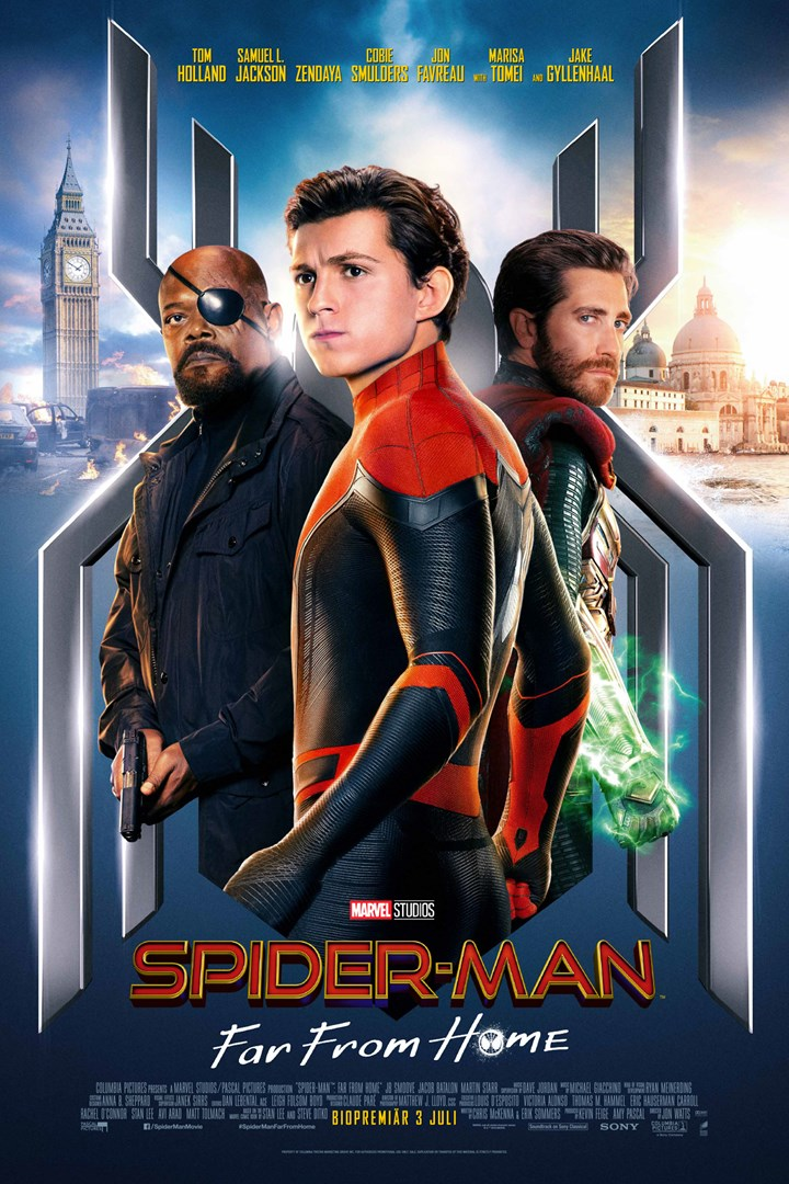 Poster för Spider-Man: Far From Home som går på bio i Umeå.